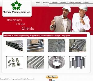 Titan Engineering's old website before redesign